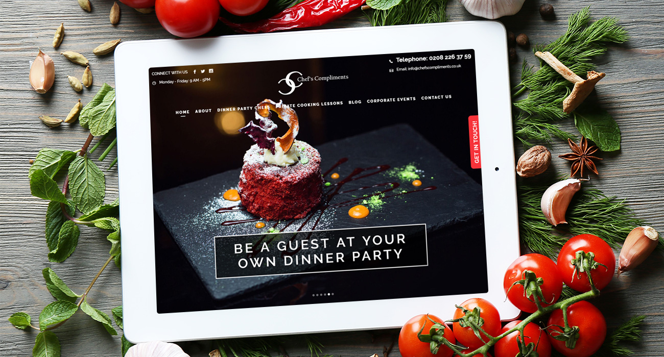 Chefs Compliments Website Development London Homepage on iPad