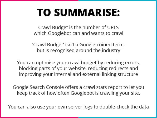 Keeping track of your crawl budget