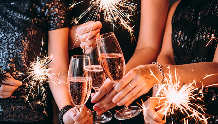 Celebrations with wine and sparklers
