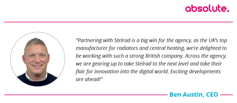 "Quote from CEO Ben Austin, ""Partnering with Stelrad is a big win for the agency..."""
