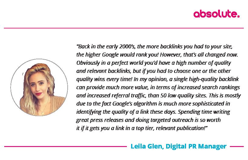 Leila Glen Digital PR Manager Quote