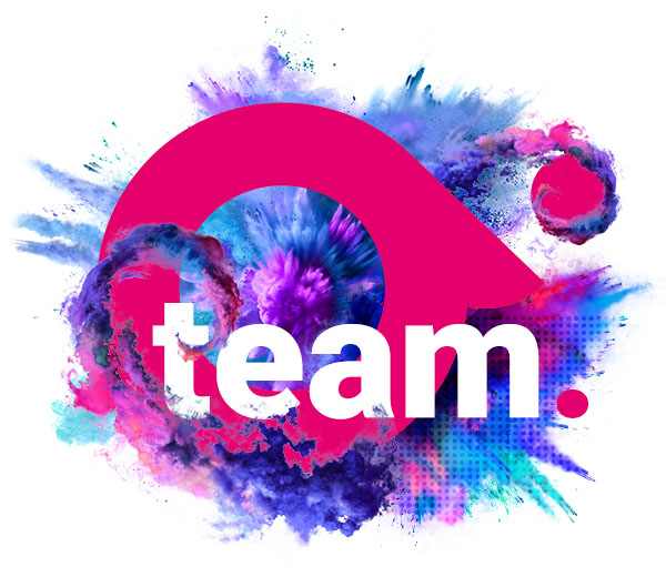 The Absolute igital Media A-Team - Image shows Absolute's logo with colourful explosions behind it.