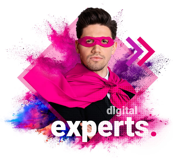 About Us - Digital Experts. Image shows superhero in agency branded colours