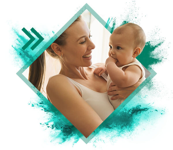 woman with baby smiling